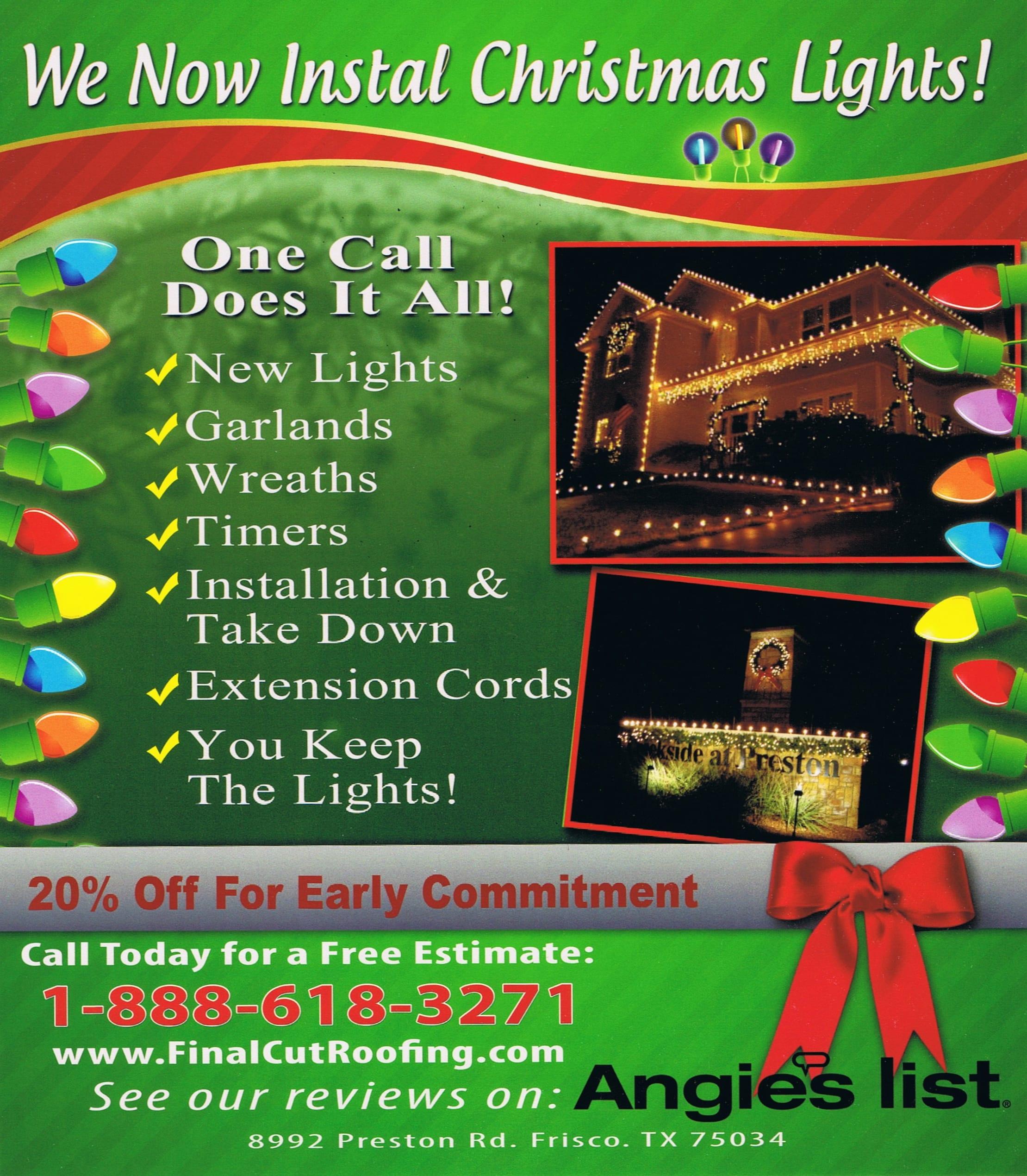 Christmas Lights Installer.Christmas Lights Installation Final Cut Roofing Construction